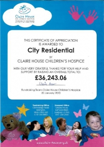 Claire House certificate 1